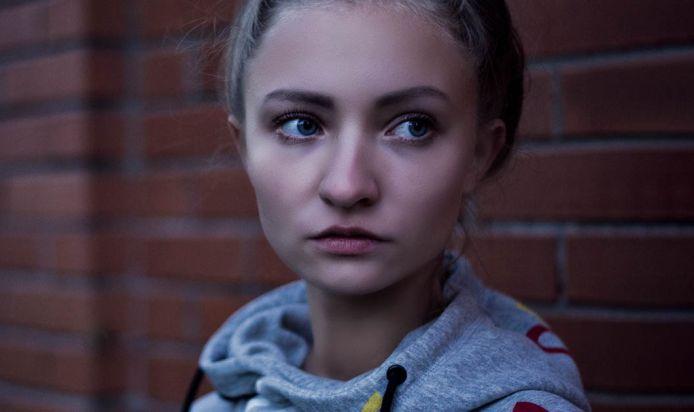 Homeless girl looking worried