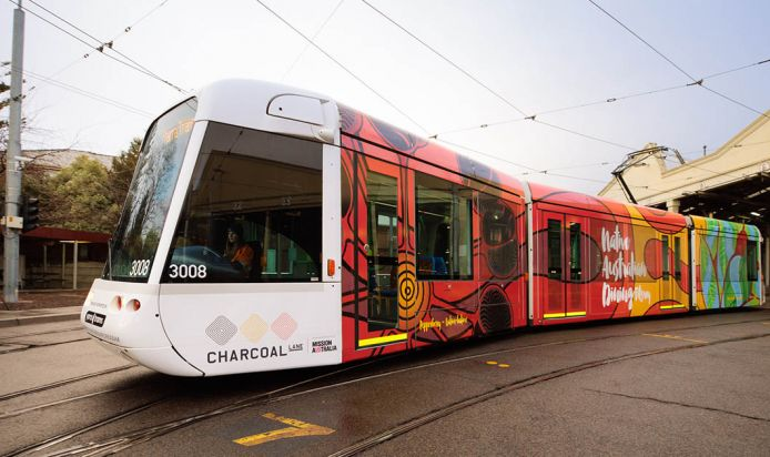 Yarra Tram with the new Charcoal Lane cover