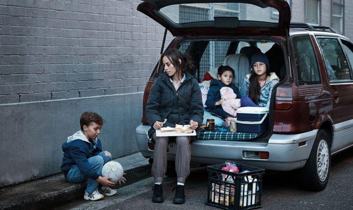 Homelessness family in car