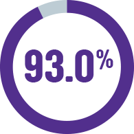 pie graph indicating that 93.0% of our income went into delivering services in 2019