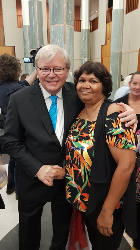 L-R Former Prime Minister Kevin Rudd with Patty Councillor