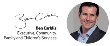 Ben Carblis image and signature, Executive, Community, Family and Children's Services