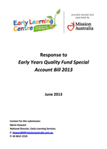 Screenshot of Early Years Quality Fund Special Account Bill document