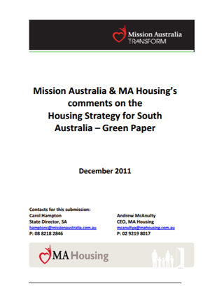 Screenshot of Housing Strategy for South Australia - Green Paper document