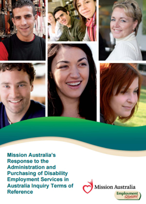 Screenshot of Administration and Purchasing of Disability Employment Services in Australia document