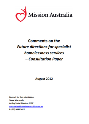 Screenshot of Future Directions for Specialist Homelessness Services document