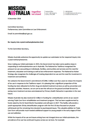 Screenshot of Inquiry into crystal methamphetamine (ice) Updated letter document