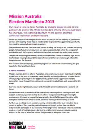Cover image of Mission Australia Election Manifesto 2013