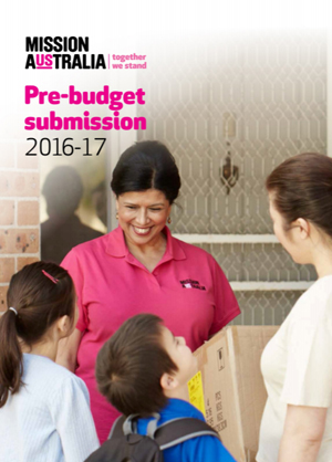 Cover image of Mission Australia Pre-budget submission 2016 - 2017