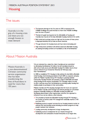Cover image of Mission Australia's Position on Housing 2013