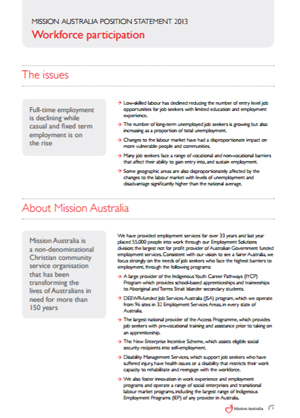 Cover image of Mission Australia's Position on Workforce Participation 2013