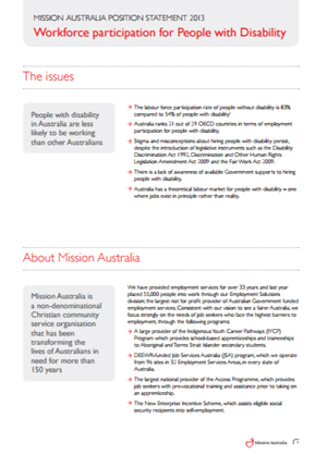 Cover image of Mission Australia's Position on Workforce Participation for People with Disability 2013