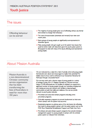 Cover image of Mission Australia's Position on Youth Justice 2013