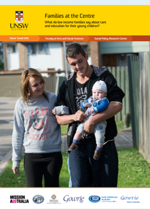 Screenshot of Families at the Centre: Policy Snapshot 2014 document