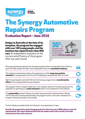 Screenshot of Synergy Automotive Repairs Program: Process Evaluation Report Summary