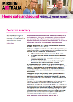Screenshot of Home safe and sound: MISHA snapshot report - 2013