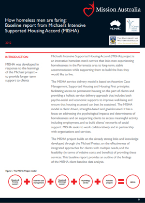 Screenshot of How homeless men are faring: Baseline report from Michael's Intensive Supported Housing Accord (MISHA) - 2012