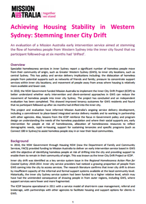 Screenshot of Summary of the evaluation report for the Inner City Drift Project