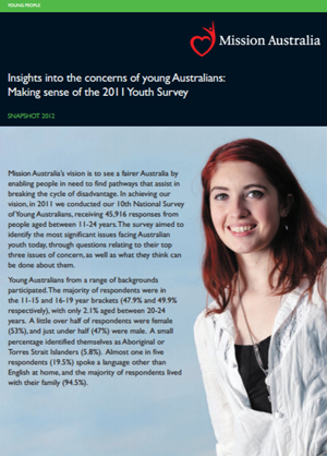 Screenshot of Insights into the concerns of young Australians: Making sense of the 2011 Youth Survey document